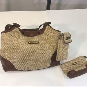 Rosetti Straw Wicker Shoulder Bag with Inserts